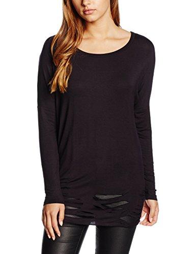 Urban Classics Ladies Cutted Viscose L/S Tee, T-Shirt Femme Noir - Noir (7)