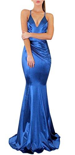 Queen Diana Tiefes V-Ausschnitt Sexy Rückenfrei Party Kleider Riemen Meerjungfrau Gerafft Abend Cocktail Abschlussball Kleid für Frauen (Blau, L) (Satin-kleid Geraffte)