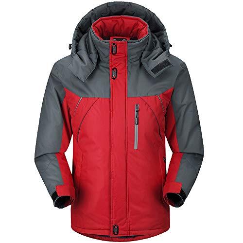 Preisvergleich Produktbild Yvelands Herren Jacke Winter Langarm Warm Kapuzen Zip Dick Fleece Mantel Outwear Wind Jacke(EU-50 / XL, Rot)