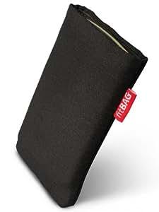 fitBAG Rave Schwarz Handytasche Tasche aus Textil-Stoff mit Microfaserinnenfutter für HTC One M8 (neues Modell April 2014)