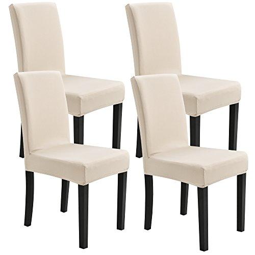 [neu.haus]® Stuhlhusse 4er-Set 42-53 cm Sandfarben Schonbezug Stuhlbezug Stuhlüberzug Stretch