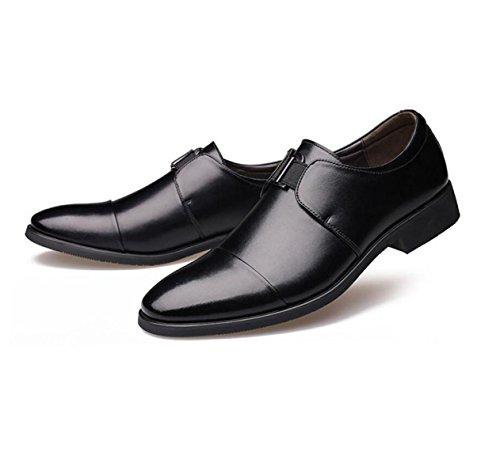 GRRONG Chaussures En Cuir Pour Hommes Daffaires Pointu Robe Formelle Jaune Noir Black