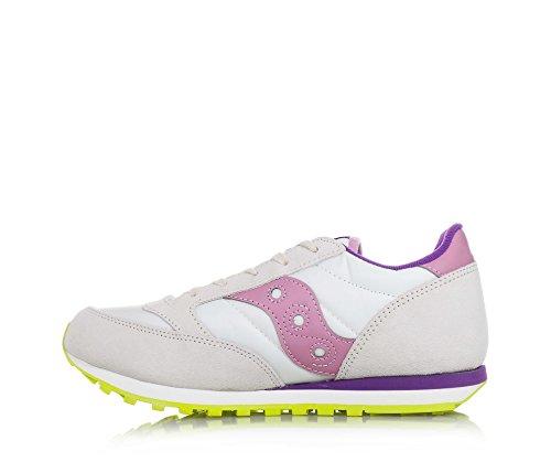 SAUCONY - Beige Sportschuh Jazz Original mit Schnürsenkeln, aus Wildleder und Nylon, seitlich rosa Lederapplikationen, Mädchen, Damen Bianco