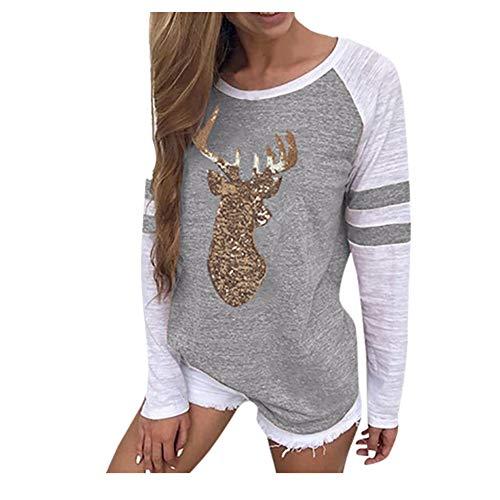 SEWORLD Mantel Blusen T-Shirt Damen Langarm Warmer Freizeit Festival Weihnachten Pullover Tops für Winter/Herbst/Frühling(X-d-grau,EU-36/CN-S)