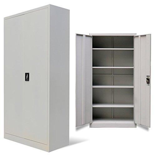 vidaXL Armario de oficina 2 puertas 180 cm Gris