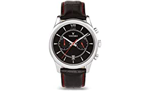 Vinceo Luxury Men's Bellwether Wrist Watch - Black/Red dial with Black Leather Watch Band - 43mm Chronograph Watch - Japanese Quartz Movement