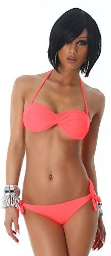P.F. Damen Bandeau-Neckholder-Bikini im gedrehten Design Neonorange