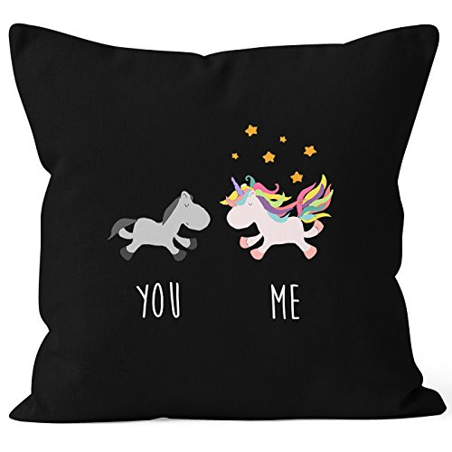 Kissenbezug You and Me Einhorn Unicorn Deko-Kissen 40x40 Baumwolle MoonWorks® schwarz Pullover