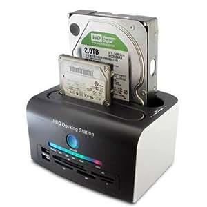 """Tooploo USB 2,0 3,0 HDD Docking Station für 2.5"""" 3.5"""" Dual SATA OTB/OTC 5in1 Festplatte Kartenleser Duplizieren auf Knopfdruck LED Statusanzeige - Schwarz"""