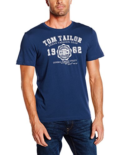 TOM TAILOR Herren T-Shirt Logo Tee Blau (Estate Blue 6845), Large