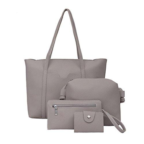 Quattro set borsetta spalla borse, donne quattro set borsetta spalla borse quattro pezzi tote bag crossbody portafoglio by Kangrunmy Grigio