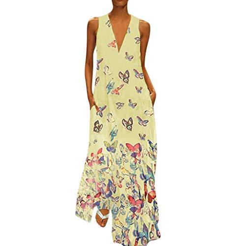 MRULIC Damen Blumen Maxikleid Bohemian A-Linie Lang Kleider Sommerkleid Partykleid V-Ausschnitt ärmellos Strandkleider Boho Lange Bohemian Kleid(C-Gelb,EU-40/CN-L) (Rosa Barbie Kleid Für Erwachsene)