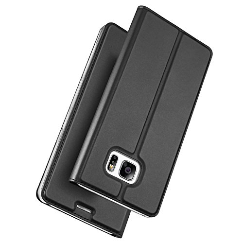 Conie Bookstyle PU Lederhülle kompatibel mit Samsung Galaxy S7 Edge, Schwarzes Booklet Cover Etui mit Kartenfächer Klapphülle