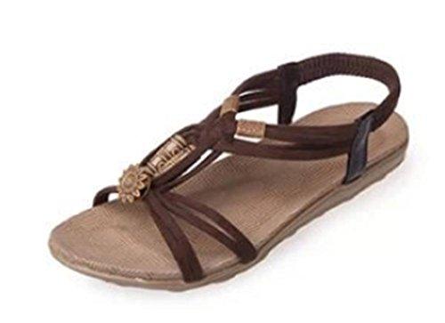 Femme perles sandales plates avec les chaussures tête de poisson plat plage Brown