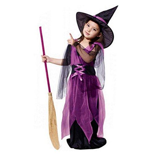 HKFV Kinder Kostüm Zauberer Halloweenkostüm Kleinkind Kinder Mädchen Halloween Kleider Kostüm Kleid Party Kleider + Hut Outfit (130, gelb) (Ideen Kostüm Foto Shooting Halloween)