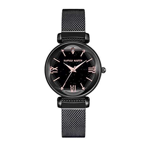 Damen Uhren, L'ananas Frauen Mode Blütenblatt Diamant schneiden Sternenhimmel Zifferblatt Mesh-Band Armbänder Armbanduhren Women Watches Wristwatches (Schwarz)