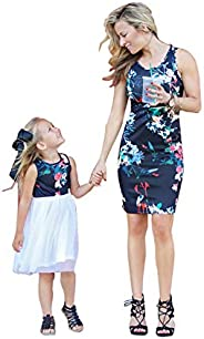 Madre e Hija Vestido Sin Tirantes Estampado Flores Casual Verano Mujer Niñas Ropa Familiar Igual