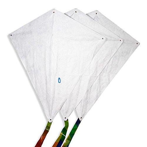 CIM Drachen-Bausätze - 3 Stück - Fixi-M - Komplettsets zum selber basteln - Jeder Drachen mit 60x66cm Drachensegel, 20m Drachenschnur auf Handgriff und 250cm langen Drachenschwänzen