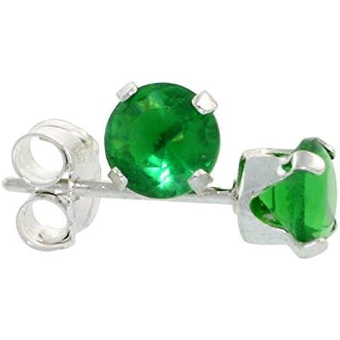 In argento Sterling, colore: verde smeraldo, 1/4 di carato, taglio a brillante, 4 mm)-Orecchini a lobo con zirconia cubica