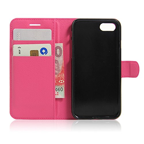 iPhone7plusHülle/iPhone 7plus Schutzhülle Book-Style Case/Xfay TPU+Leder Ledertasche/ Leder Tasche Case/ Ledertasche Flip Cover Wallet Case Flip Cover Hüllen Schutzhülle Etui Hülle mit Standfunktion / Rose Red