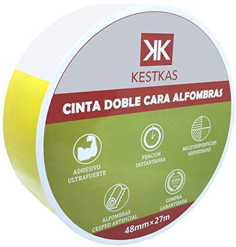 Cinta Doble Cara Fijación Ultra fuerte KESTKAS 48mm x 27m Fijación permanente en Moquetas - Alfombras...