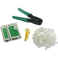 Comprobador de cable + alicates de crimpar crimpadora + 100RJ45CAT5CAT5E Conector Plug Red Juego de herramientas para