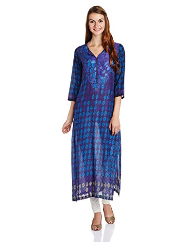 BIBA Women's Straight Cotton Kurta (INDIGO12154_Indigo_34)  available at amazon for Rs.649