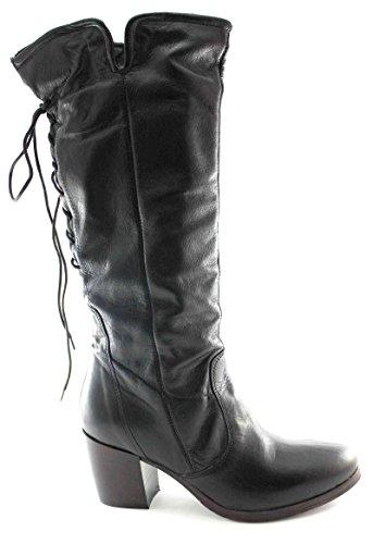 CAF NOIR GE101 zip en cuir noir bottes femmes dentelle talons de veau