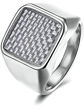AMDXD Schmuck Edelstahl Herren Ring Breit Groß Quadrat Kohlefaser Ring Herren