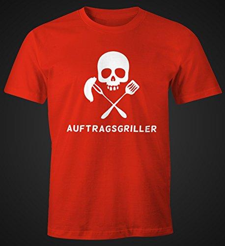 Herren T-Shirt Auftragsgriller Funshirt Grill Shirt BBQ FunShirt Skull Totenkopf Moonworks® Rot