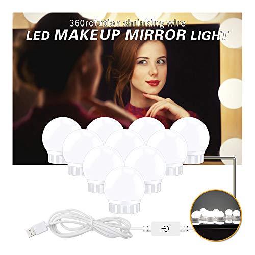 735 Lampe (CX AMZ USB Hollywood Mirror Lights, können LED-Lampen drehen, einstellbare Helligkeit, Touch-Dimmer-Kosmetikspiegel, Hollywood-Stil Glas dekorative Lampe,10Bulbs)