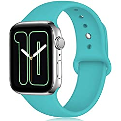 Zekapu Sport Correa para Apple Watch Correa 38mm 42mm 40mm 44mm, Pulsera de Repuesto de Silicona Suave Correa para Apple Watch Series 5/4/3/2/1, 42mm/44mm M/L Verde Acqua