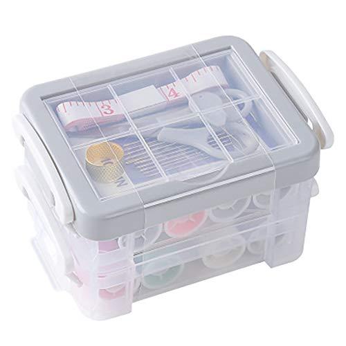 FENSIN Nähkasten-Set, Dornrost-Nähset Nadel und Faden Handmaßband Schere Tragbares Multifunktions-Nähkasten-Set für den Haushalt - Grau