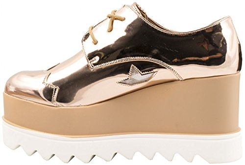 Elara Damen Plateau Schuhe | Metallic High Halbschuhe | Schnürer Profilsohle | chunkyrayan Gold Profil