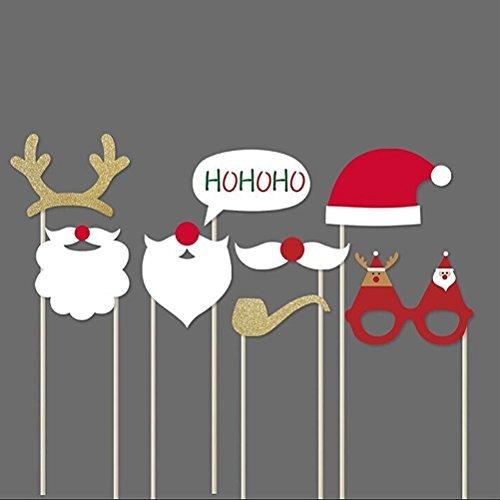 UEETEK Weihnachten Photobooth Requisiten 8ST DIY-Kit für Party liefert mit Brille Schnurrbart Hirsch Horn Weihnachtsmütze