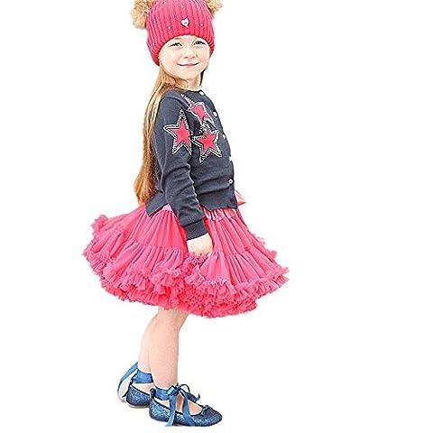 Jysport Tutu de danse Fluffy Princesse jupes de fête bébé fille solide Couleur Danse Robe courte, rouge pastèque, XS