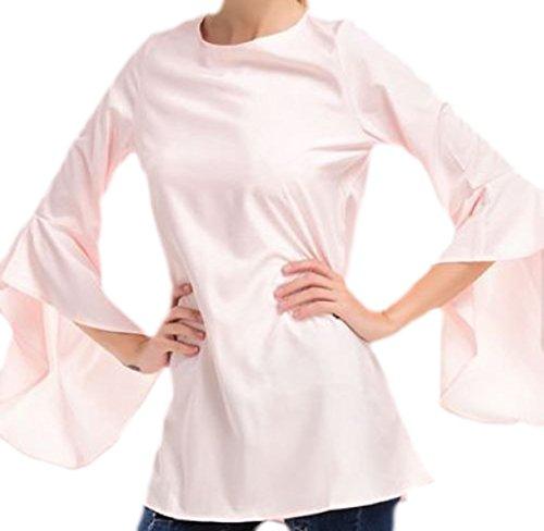 erdbeerloft Damen Longshirt mit Trompetenärmeln , XSXL, Viele Farben Rosa