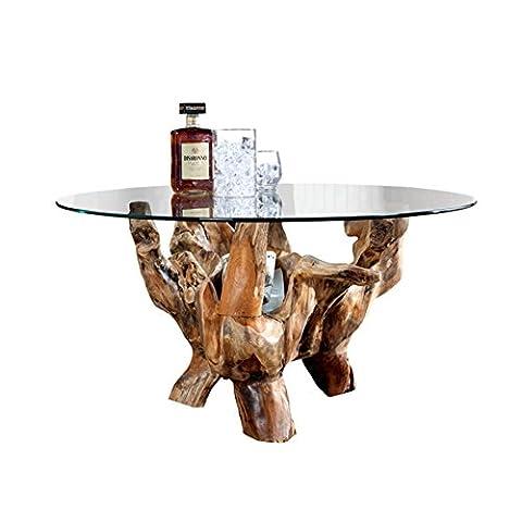 Massiver Couchtisch AMAZONA rund 90 cm Teak Wurzelholz mit Glasplatte Holztisch Tisch Wohnzimmer