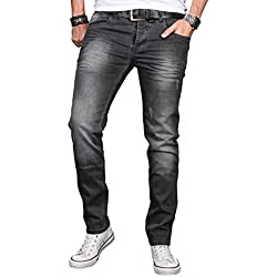 A. Salvarini Designer Herren Jeans Hose Basic Stretch Jeanshose Regular Slim [AS046 - Dark Grey - W33 L36]