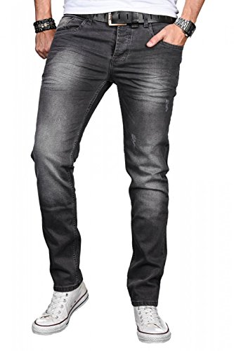 A. Salvarini Designer Herren Jeans Hose Basic Stretch Jeanshose Regular Slim [AS046 - Dark Grey - W32 L32]