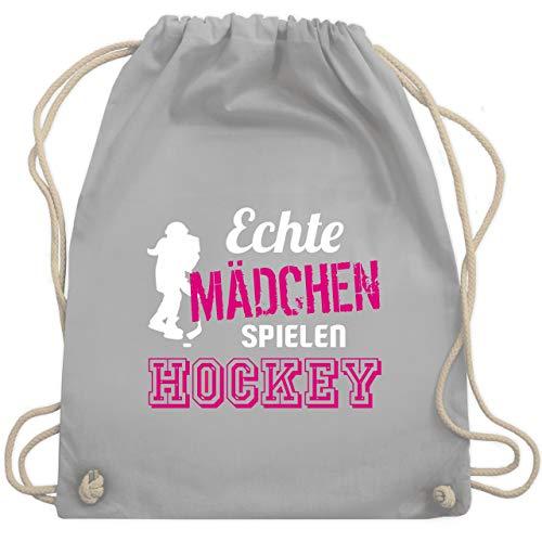 Eishockey - Echte Mädchen spielen Hockey - Unisize - Hellgrau - WM110 - Turnbeutel & Gym Bag