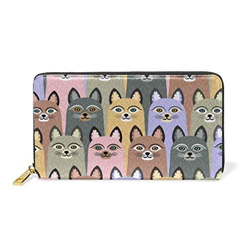XiangHeFu Damen Geldbörse, bunt, nahtloses Muster, niedliche Katzen, Clutch, Reißverschluss, Leder