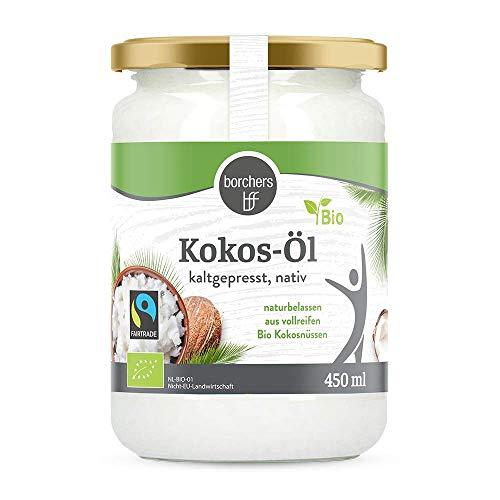 borchers Bio-Fairtrade Kokosöl Nativ, Naturbelassen, Erste Kaltpressung, zum Kochen Braten und Backen, Vegan 450ml