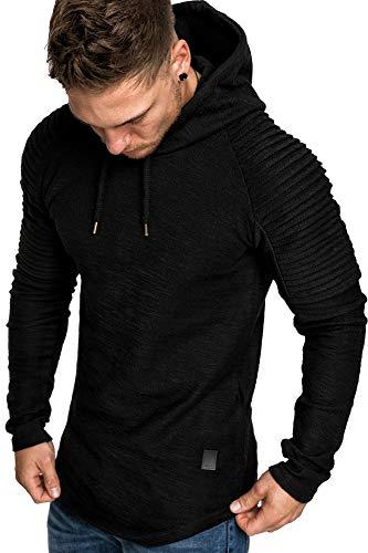 Amaci&Sons Oversize Vintage Herren Pullover Biker-Style Kapuzenpullover Hoodie Sweatshirt 4022 Schwarz L
