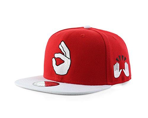 True Heads Ok Emoji Red Snapback Baseball Cap