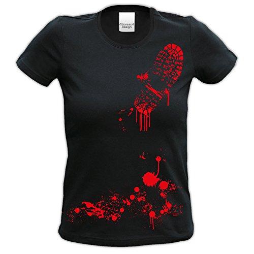 Damen-Mädchen-Halloween-Kostüm-Girlie-Fun-T-Shirt Gruselig witziges Shirt für Frauen Blutiger Schuhabdruck Geister Gespenster Kürbis Outfit Geschenk Idee Farbe: schwarz Schwarz