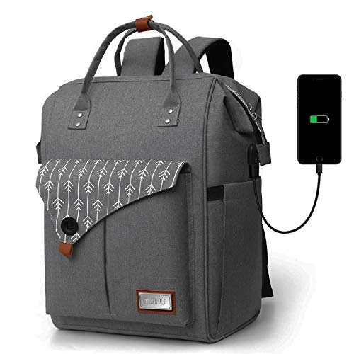 Rucksack Damen, Laptop Rucksack für 15.6 Zoll Laptop Schulrucksack mit USB Ladeanschluss für Arbeit Wandern Reisen Camping, für Mädchen, Oxford, 20-35L (H11-CBlack)