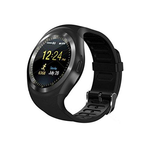Unisex Smartwatch,Pottoa 2018 Bluetooth Smart Watch Telefon Mate Voller Runden Bildschirm SIM für Android für IOS,Sport Smartwatch Uhr Wasserdicht Fitness Intelligente für Herren Damen (Schwarz)