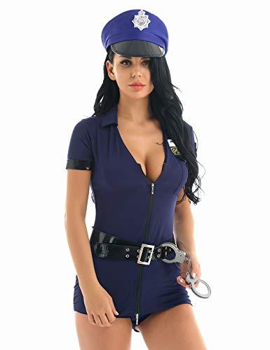 stüm Polizistin Damen Kostüm Polizei Cop Polizist Sexy Uniform Minikleid + Hut+ Gürtel + Handschellen Mottoparty Fasching Karneval Verkleidung Marineblau Medium ()