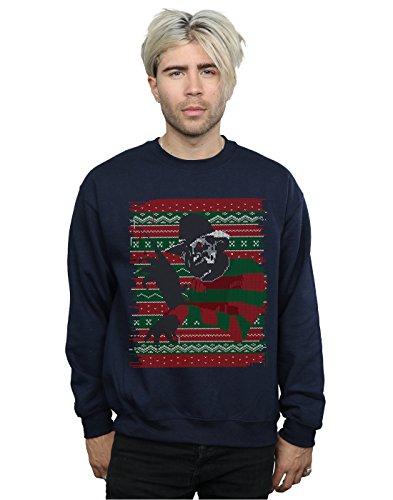 Nightmare On Elm Street Herren Christmas Fair Isle Sweatshirt Large Marine